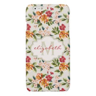 Elegant Vintage Watercolor Flowers Monogrammed Glossy iPhone 6 Case