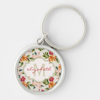 Elegant Vintage Watercolor Flowers Monogrammed Silver-Colored Round Keychain