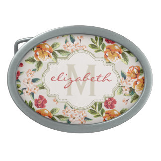 Elegant Vintage Watercolor Flowers Monogrammed Oval Belt Buckle