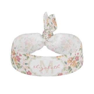 Elegant Vintage Watercolor Flowers Monogrammed Ribbon Hair Tie