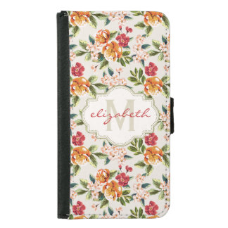 Elegant Vintage Watercolor Flowers Monogrammed Samsung Galaxy S5 Wallet Case