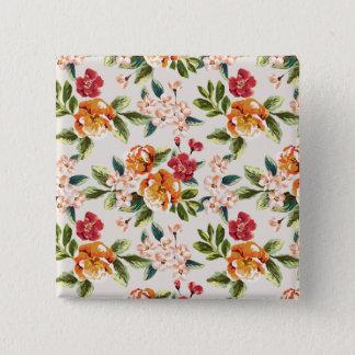 Elegant Vintage Watercolor Flowers Pattern Button