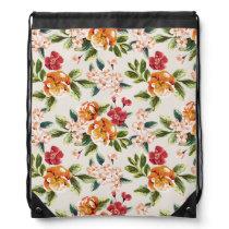 Elegant Vintage Watercolor Flowers Pattern Drawstring Bag