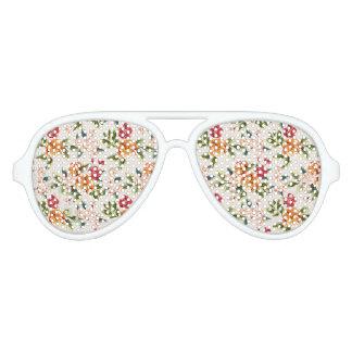 Elegant Vintage Watercolor Flowers Pattern Aviator Sunglasses