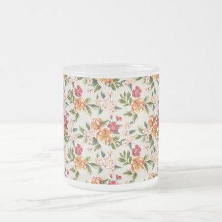 Elegant Vintage Watercolor Flowers Pattern Frosted Glass Coffee Mug
