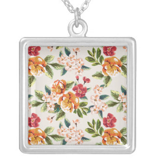 Elegant Vintage Watercolor Flowers Pattern Silver Plated Necklace