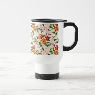 Elegant Vintage Watercolor Flowers Pattern Travel Mug