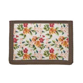 Elegant Vintage Watercolor Flowers Pattern Trifold Wallet