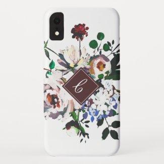 Elegant Vintage Watercolor White Floral Monogram Case-Mate iPhone Case