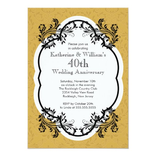 Elegant Vintage Wedding Anniversary Party 5x7 Paper