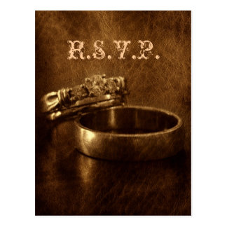 elegant vintage wedding rings wedding rsvp postcards