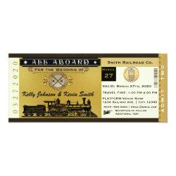 Elegant Vintage Wedding Train Ticket Invitation 4