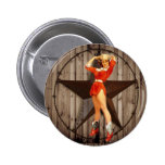 elegant  vintage western country cowgirl pinback button