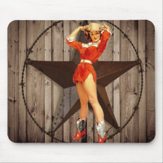 elegant  vintage western country cowgirl mouse pad