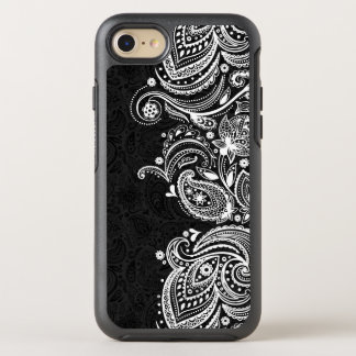 Elegant Vintage White & Black Paisley Lace OtterBox Symmetry iPhone 7 Case