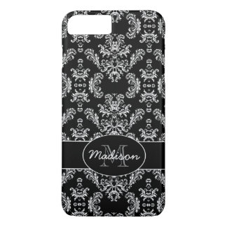 Elegant vintage white damask Black Monogram iPhone 8 Plus/7 Plus Case