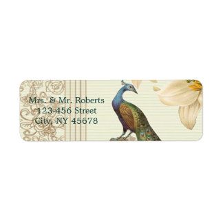 elegant Vintage white lily floral peacock wedding Label