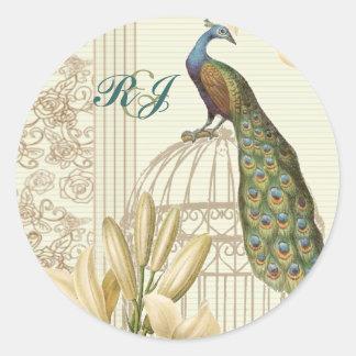 elegant Vintage white lily floral peacock wedding Classic Round Sticker