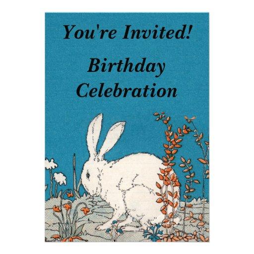 Elegant Vintage White Rabbit Birthday Custom Invitations