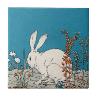 Elegant Vintage White Rabbit Ceramic Tile