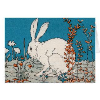 Elegant Vintage White Rabbit  Easter Card
