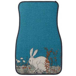 Elegant Vintage White Rabbit Flowers Car Mat