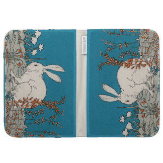 Elegant Vintage White Rabbit Flowers Kindle Keyboard Covers