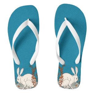 8509e89691ba33 Elegant Vintage White Rabbit Flowers Flip Flops