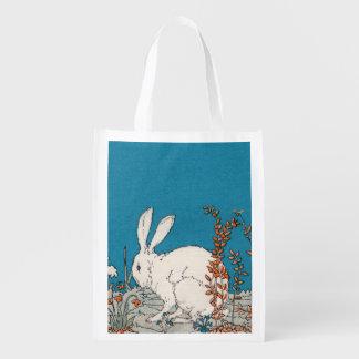 Elegant Vintage White Rabbit Flowers Grocery Bag