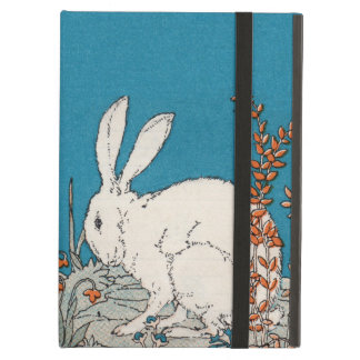 Elegant Vintage White Rabbit Flowers iPad Air Cases