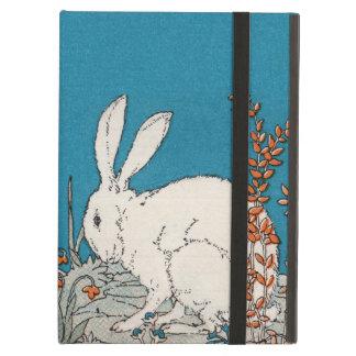 Elegant Vintage White Rabbit Flowers iPad Air Cover
