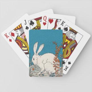 Elegant Vintage White Rabbit Flowers Playing Cards