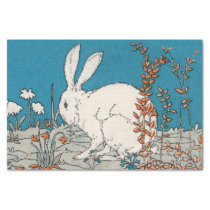 Elegant Vintage White Rabbit Flowers Tissue Paper
