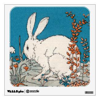 Elegant Vintage White Rabbit Flowers Wall Decal
