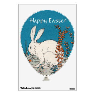 Elegant Vintage White Rabbit Flowers Wall Sticker