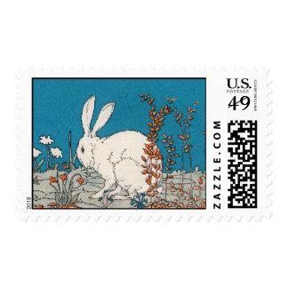 Elegant Vintage White Rabbit Postage Stamp