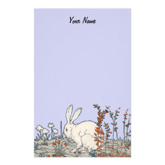 Elegant Vintage White Rabbit Stationery