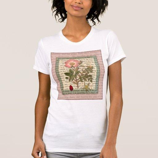 Elegant Vintage Wild Rose Antique Collage Tshirts