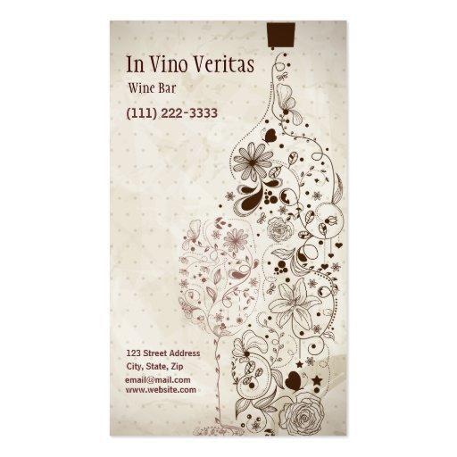 Elegant Vintage Wine Bar Business Card