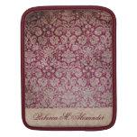 Elegant Vintage Wine Damask Pattern Custom Sleeve iPad Sleeves