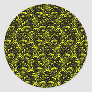 Elegant Vintage Yellow Black Damask Lace Pattern Classic Round Sticker