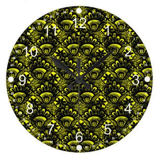 Elegant Vintage Yellow Black Damask Lace Pattern Large Clock