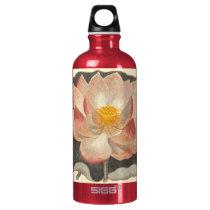 Elegant Vintage Yoga Lotus Blossom Peach Damask Aluminum Water Bottle