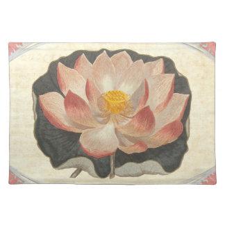 Elegant Vintage Yoga Lotus Blossom Peach Damask Cloth Placemat