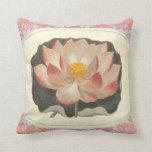 Elegant Vintage Yoga Lotus Blossom Peach Damask Pillow