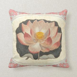 Elegant Vintage Yoga Lotus Blossom Peach Damask Throw Pillow