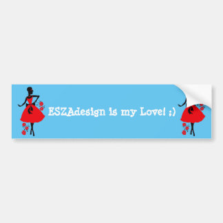 Elegant vintage young woman red black silhouette bumper sticker