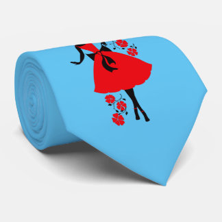 Elegant vintage young woman red black silhouette tie