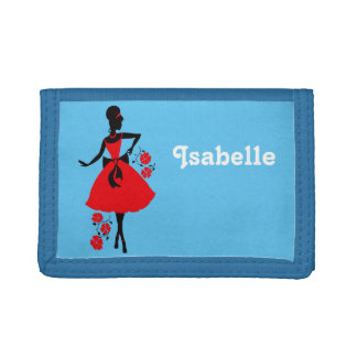 Elegant vintage young woman red black silhouette tri-fold wallets