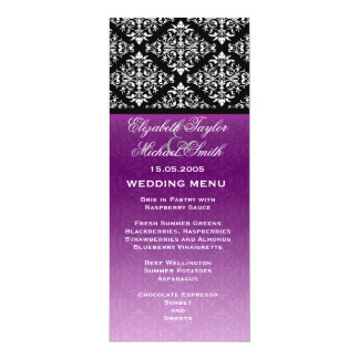 Elegant Violet Floral Damask Wedding Menu Card